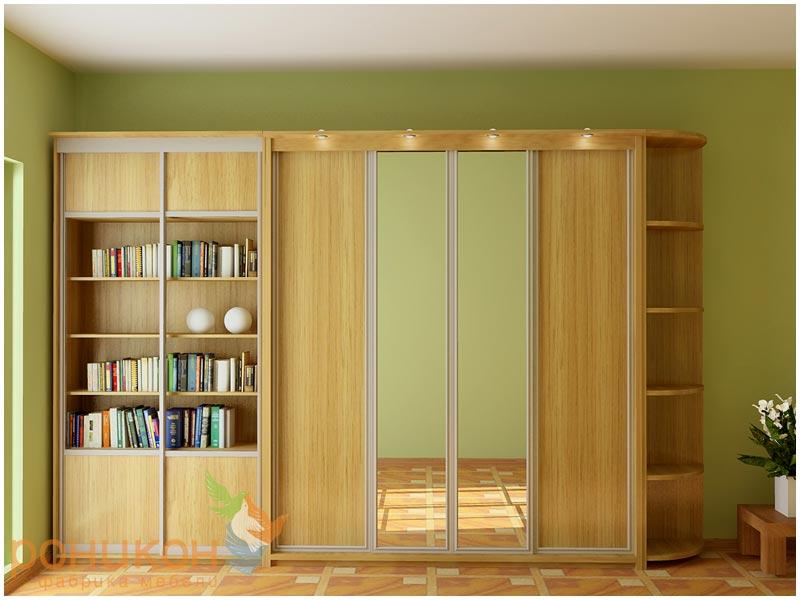 Библиотечный шкаф с 4-мя открытыми полками, двухсекционный о.